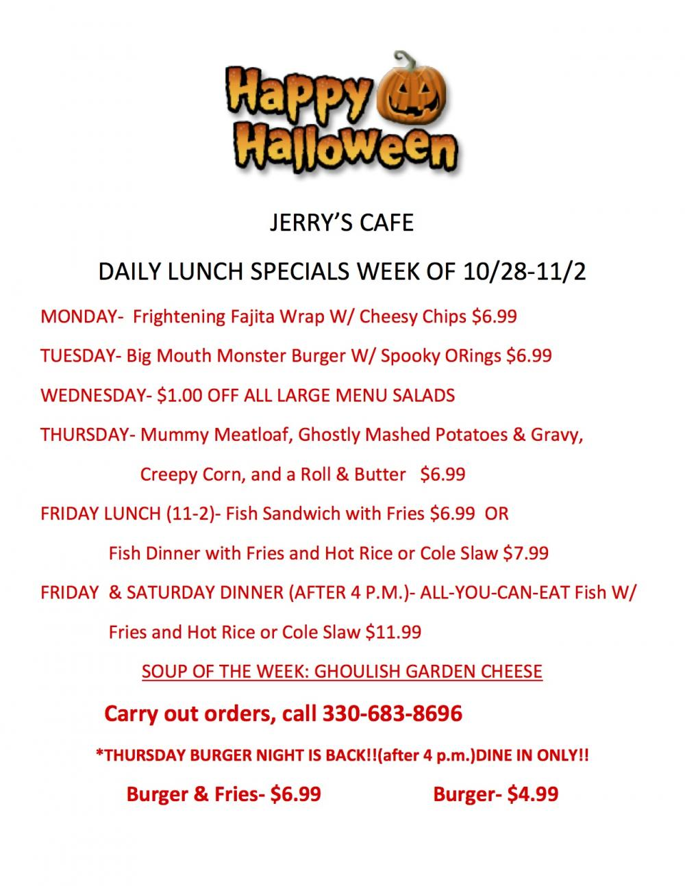 Daily lunch specials week of 10 28 11 2 jerry 39 s cafe for Lunch specials