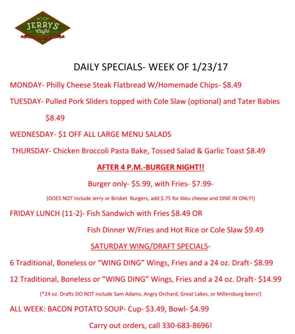 daily specials- week of 1/23/17 | jerry's cafe